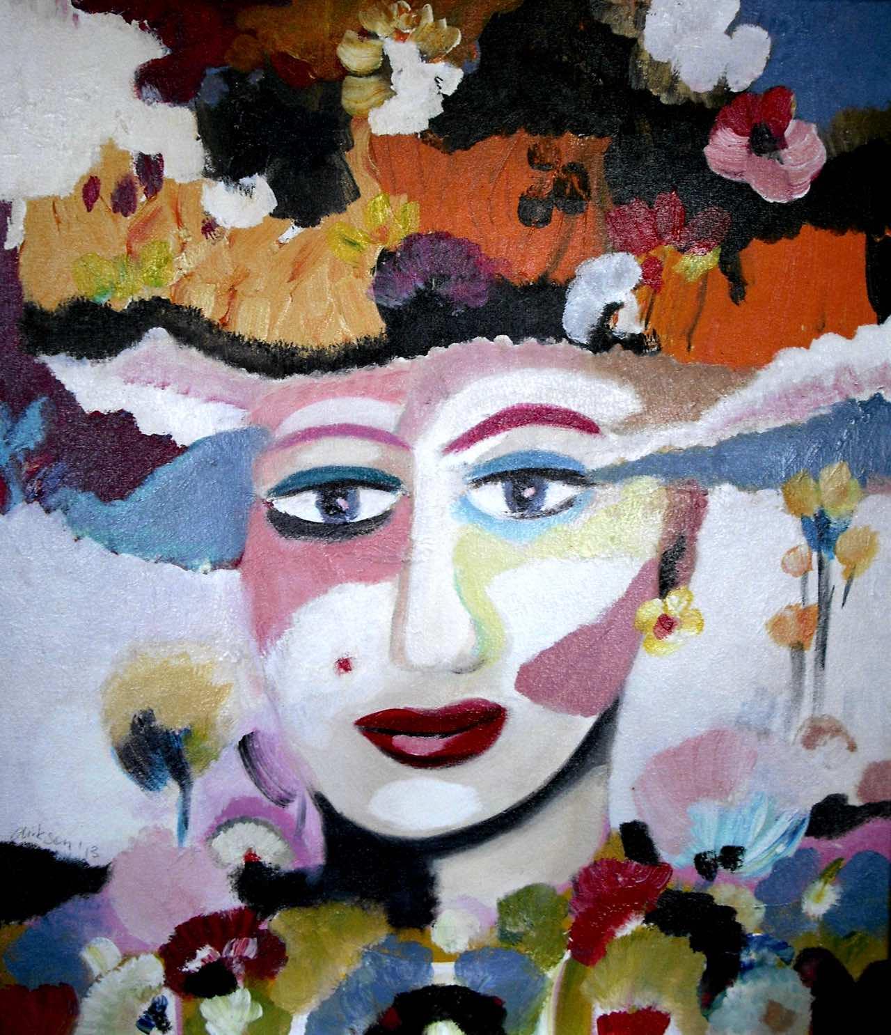 Frau mit Blumenhut, 60×75