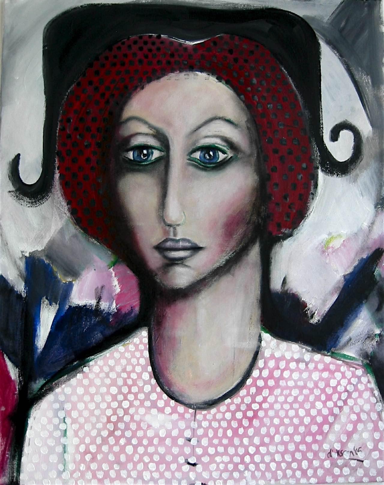Frau mit Hut, 60×85