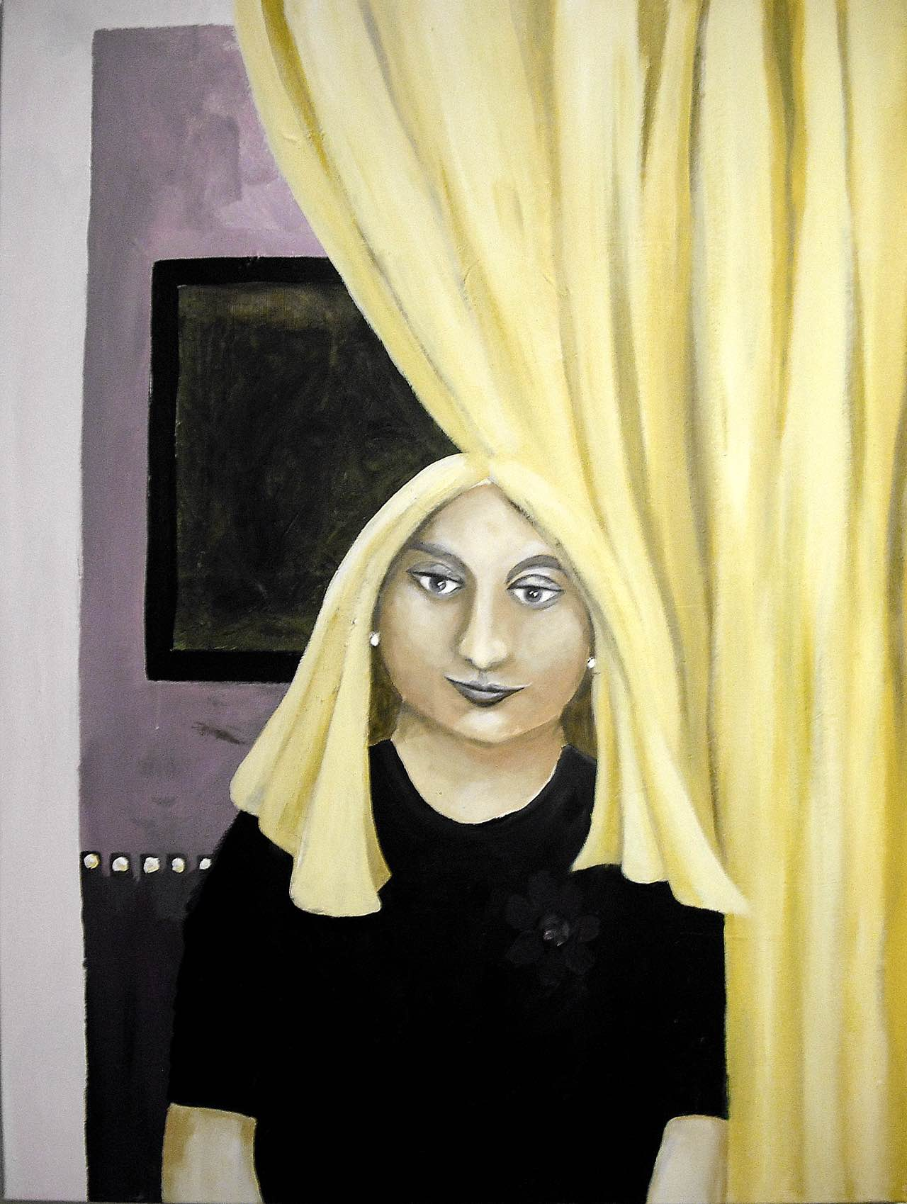 Frau mit Vorhang, 70×95