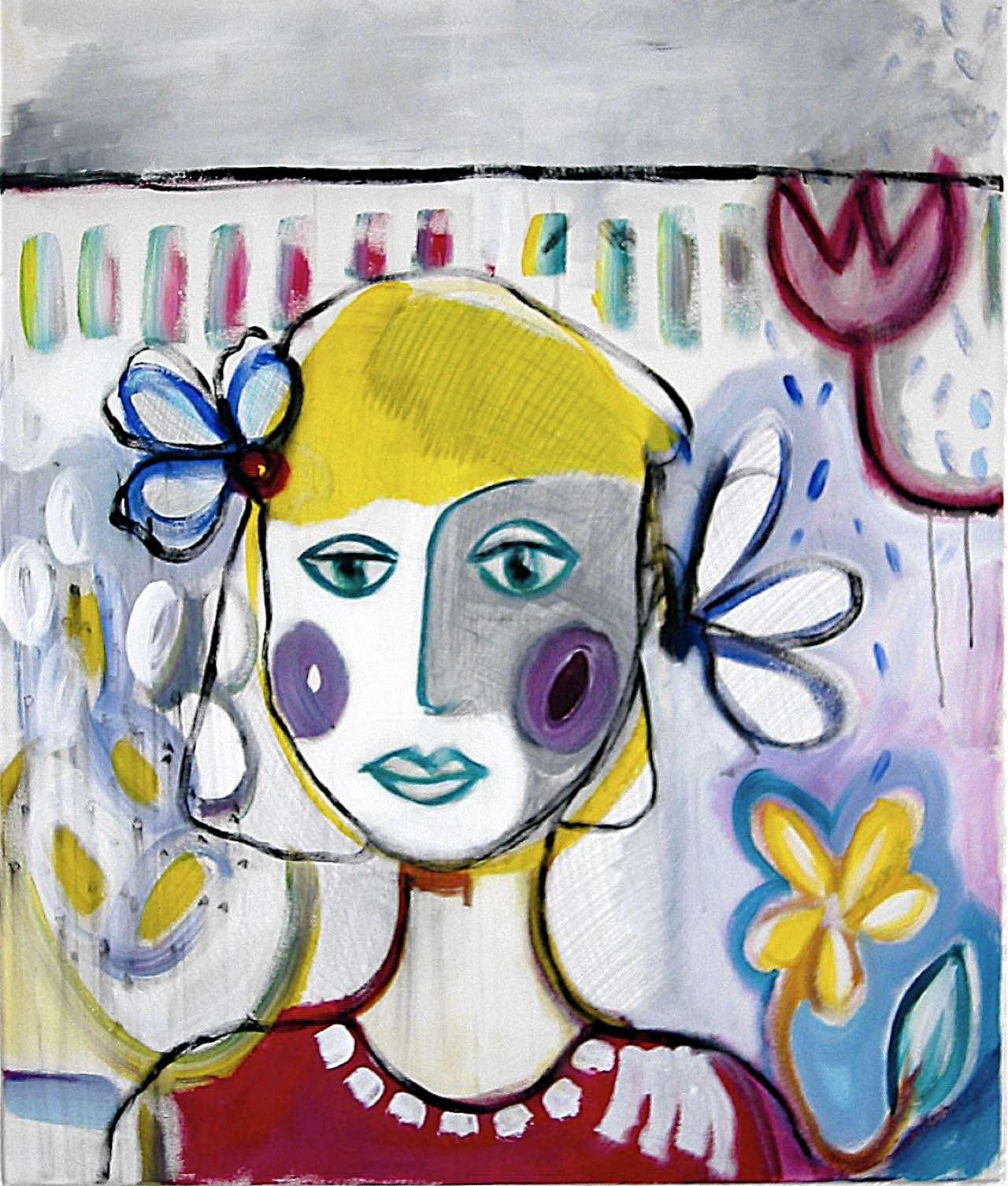 Mädchen mit Blume, 90×110