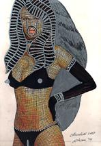 Claudia Schiffer, Collage, Silberstift auf Papier, Domina