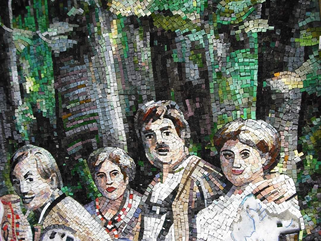 Mosaik, Bauernfamilie im Wald, Naturstein und Glasteilchen