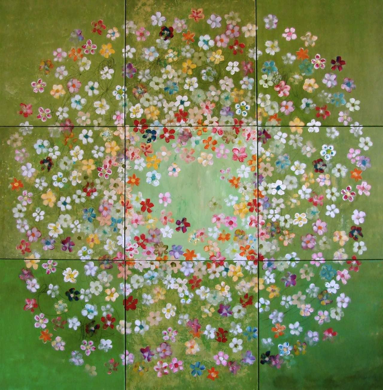 Blütenpracht 150 x 150 cm, gestempelte Blüten auf grünem Hintergrund