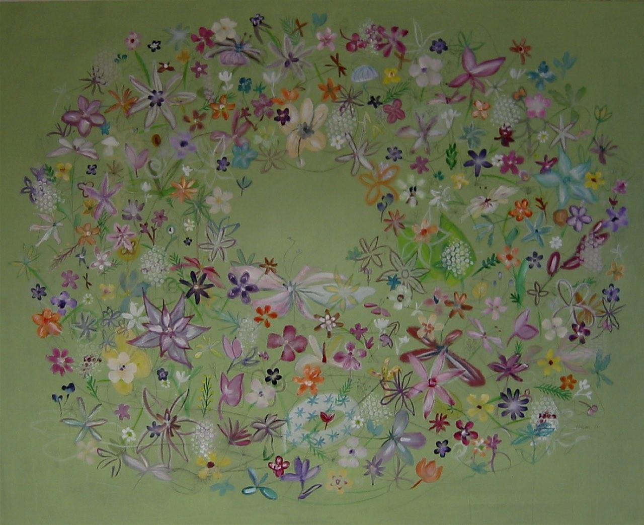 gemalte Blüten auf grünem Hintergrund