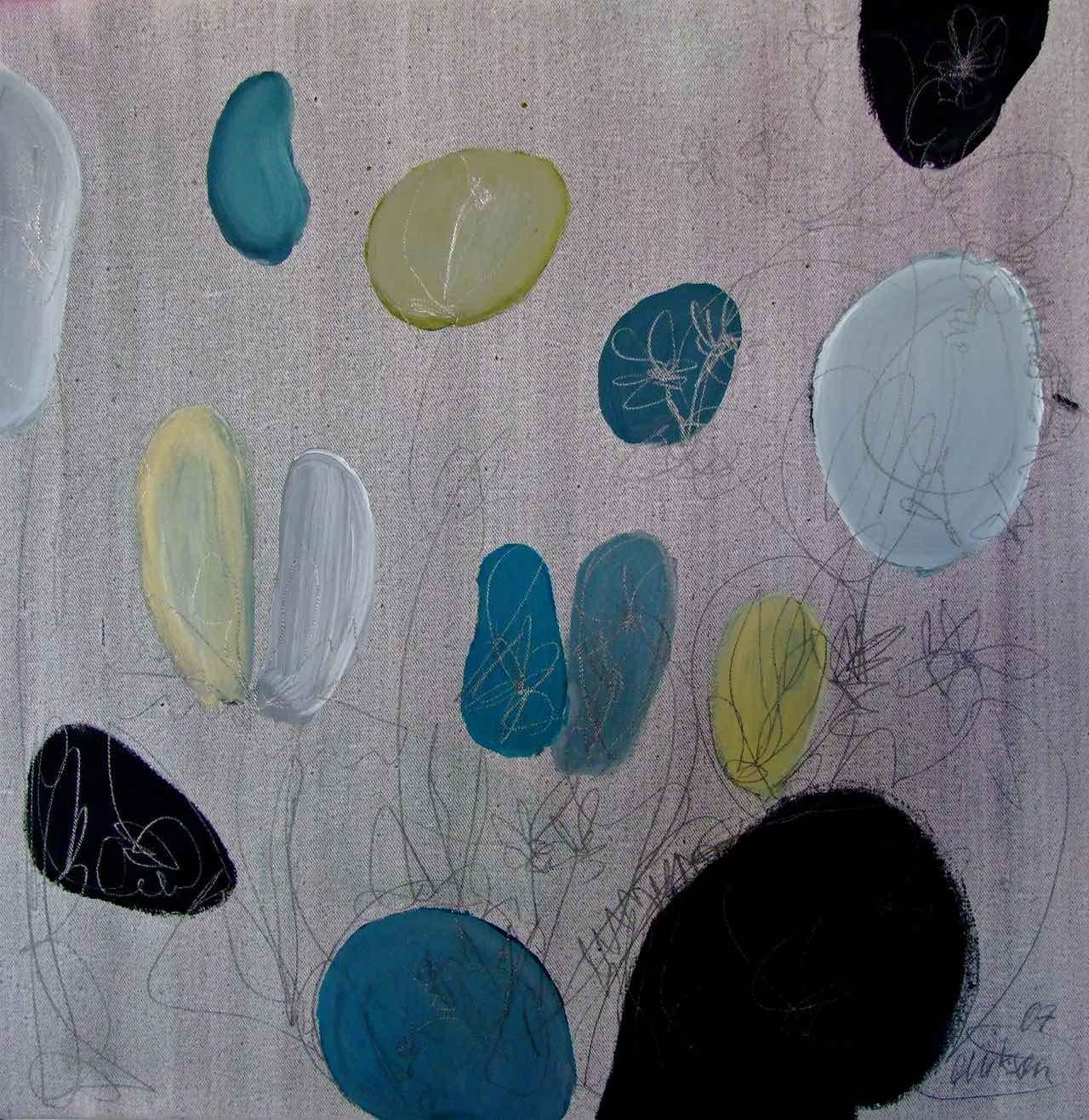 Abstrakte Blüten auf Grau