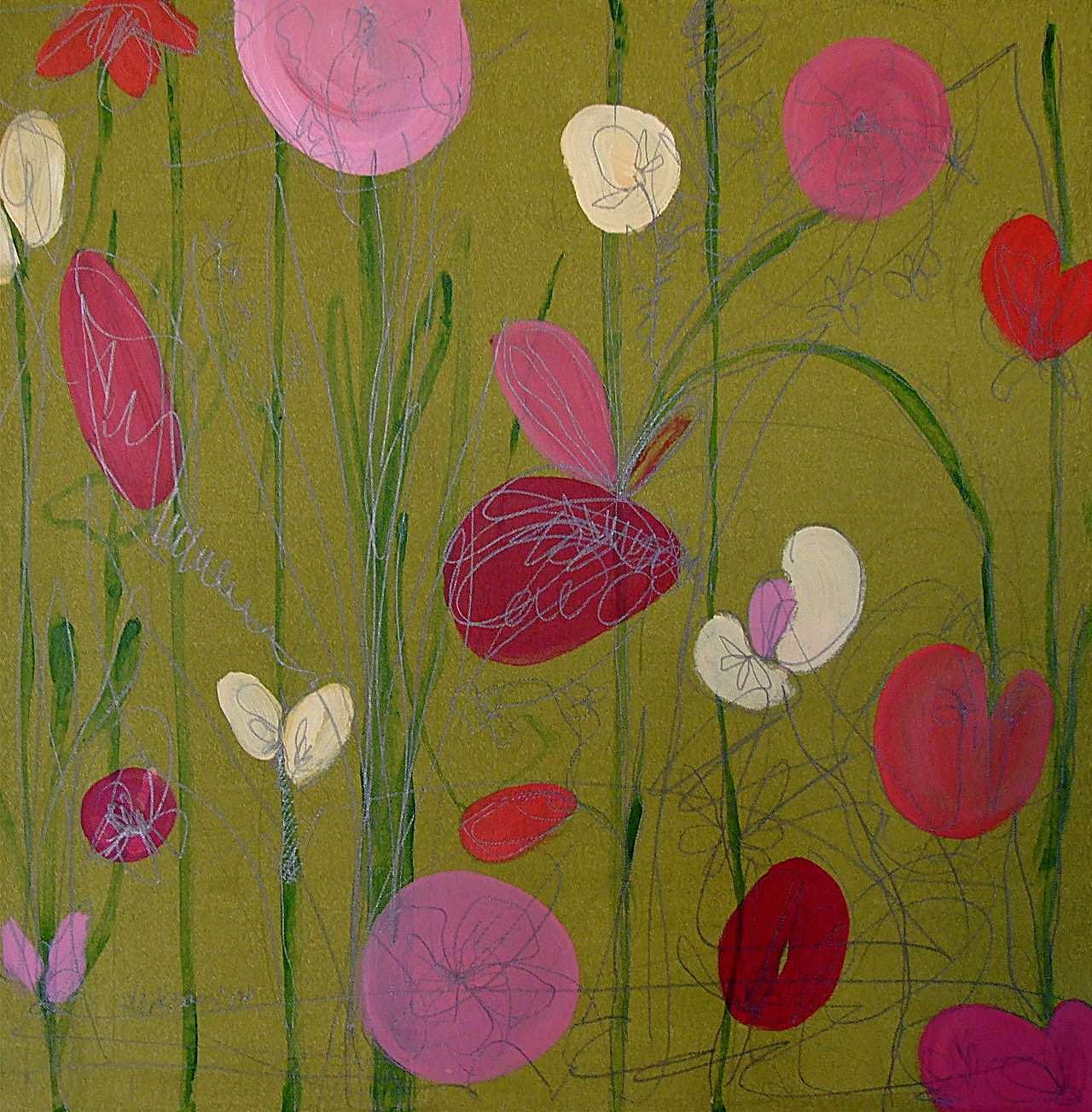Abstrakte Blüten auf Grün